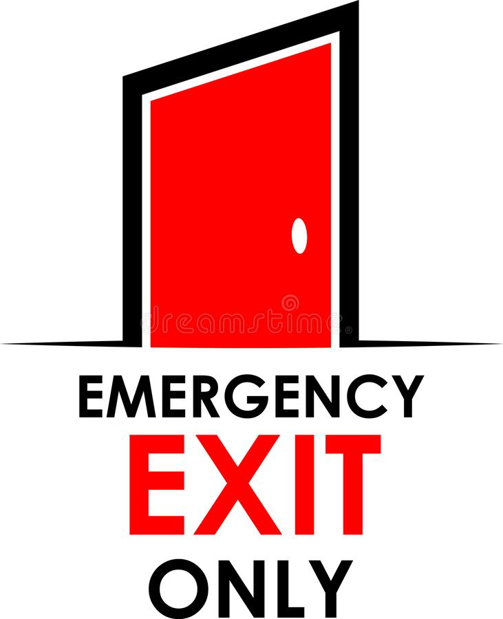 Słowo, wyjście ewakuacyjne tylko z drzwi, akcyjna ilustracja ilustracji