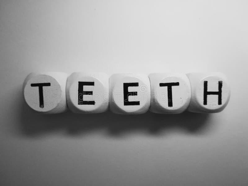 Słowo zęby na drewnianych kostka do gry obraz royalty free