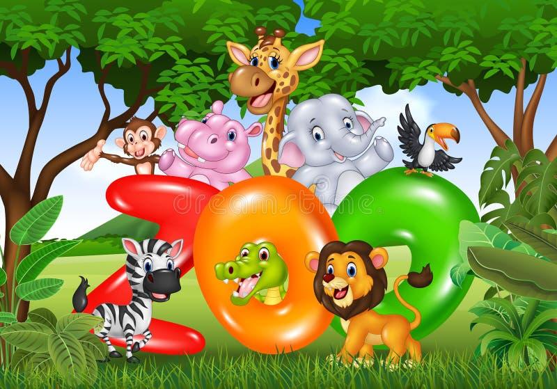 Słowo zoo z kreskówki dzikim zwierzęciem Africa ilustracji