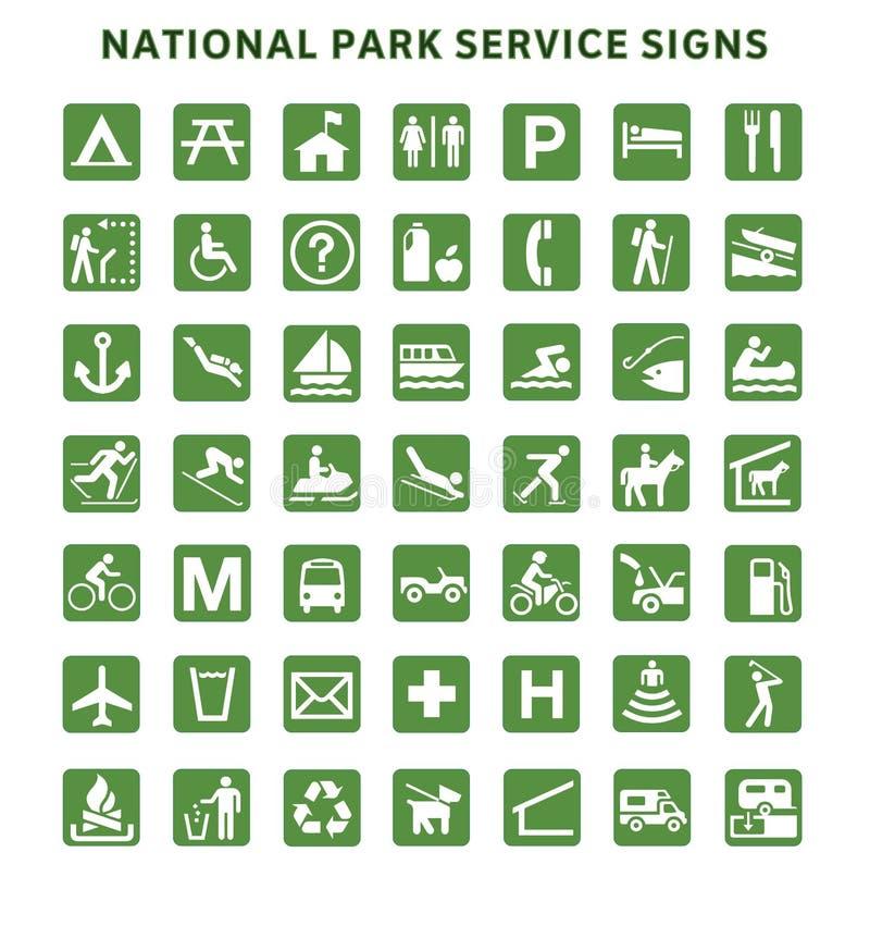 Służby Parku Narodowego znaki ilustracja wektor