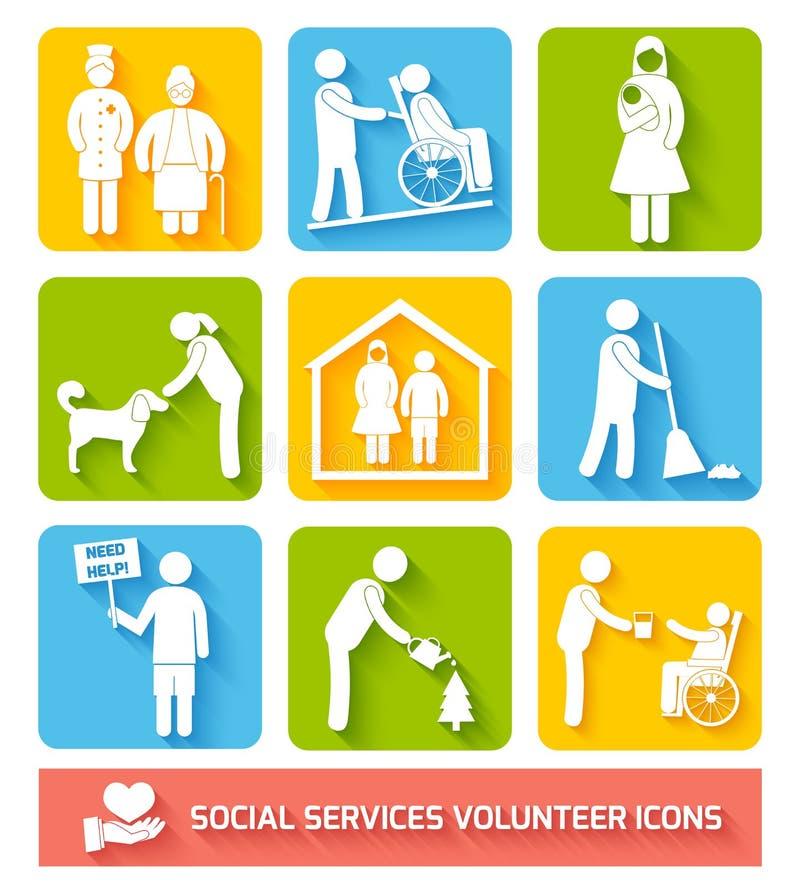 Służby socjalne ikona ustawiający mieszkanie ilustracja wektor