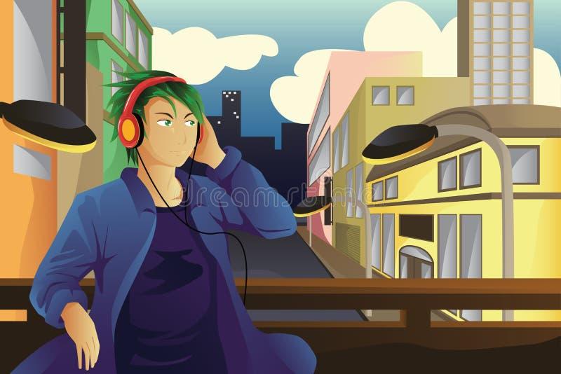 słuchał muzyki człowieka ilustracja wektor