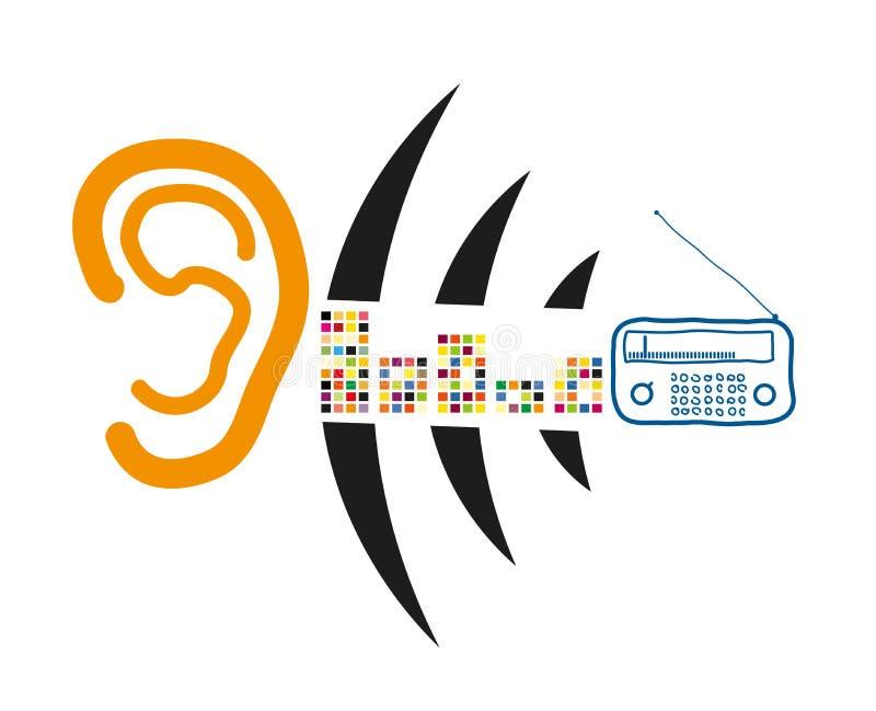 Słucha ucho radiowy sygnał royalty ilustracja