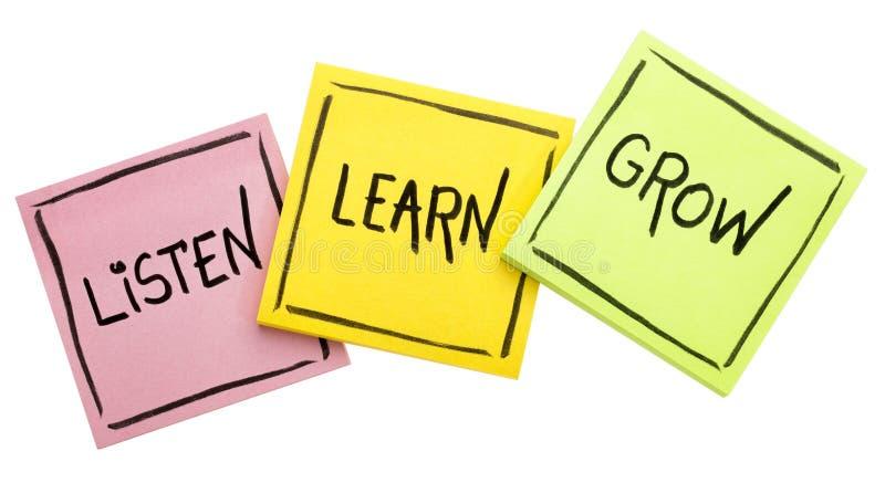 Słucha, uczy się, r, - rada lub przypomnienie obrazy stock