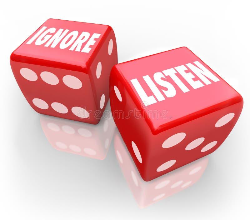 Słucha Vs Ignoruje 2 Czerwonego kostka do gry słowa Płaci uwagę royalty ilustracja