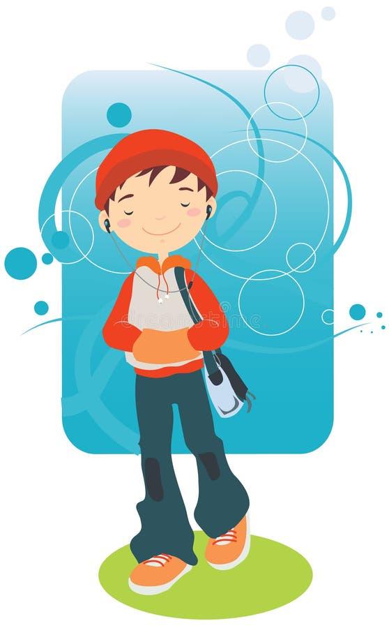 słuchająca chłopiec muzyka obraz royalty free