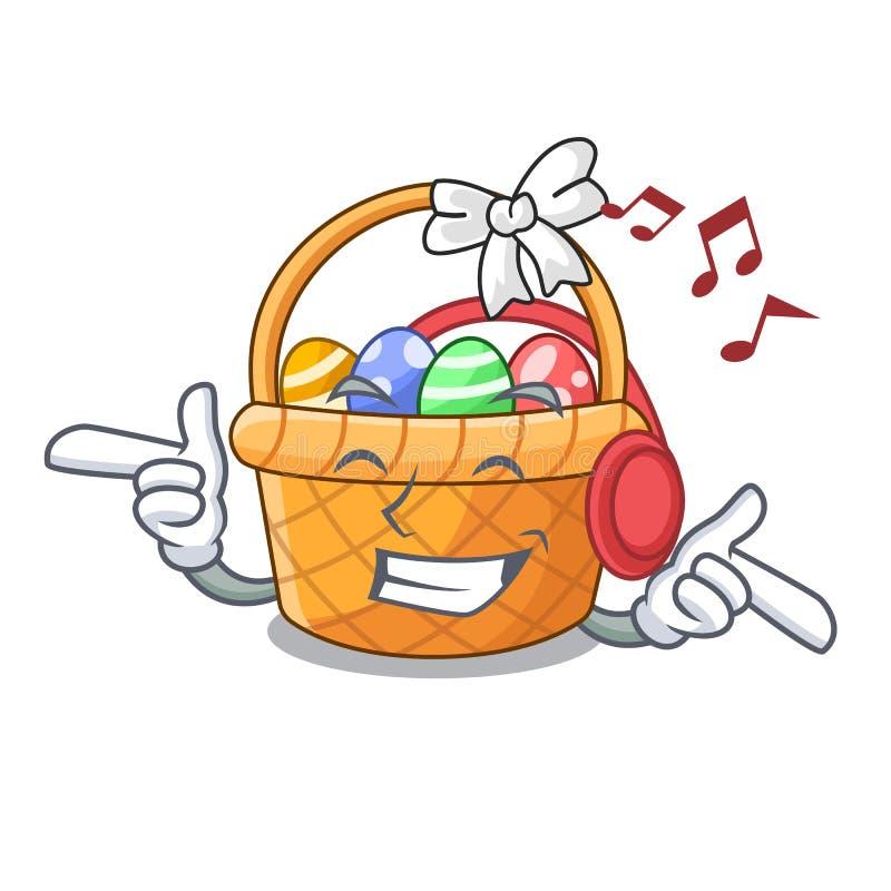 Słuchająca muzyczna Easter kosza miniatura kształt maskotka royalty ilustracja