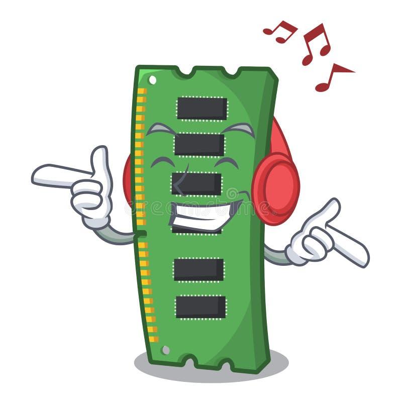 S?uchaj?ca muzyczna RAM karta pami?ci w peceta charakterze ilustracja wektor
