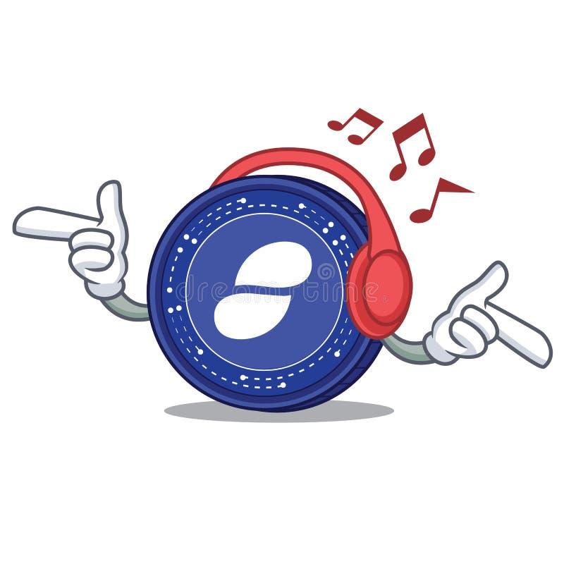 Słuchająca muzyczna status monety maskotki kreskówka ilustracji