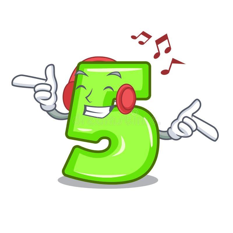 Słuchająca muzyka liczba pięć odizolowywająca na maskotce ilustracji