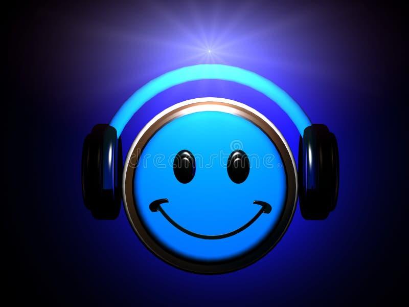 Słuchająca Smiley muzyka ilustracji