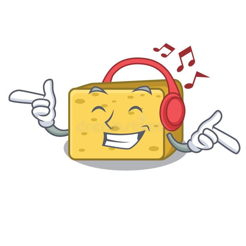 Słuchający muzyczny gouda ser składa kreskówkę ilustracja wektor