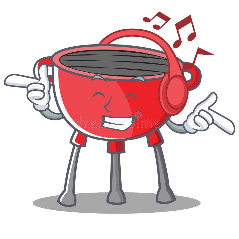 Słuchający Muzyczny grilla grilla postać z kreskówki ilustracja wektor