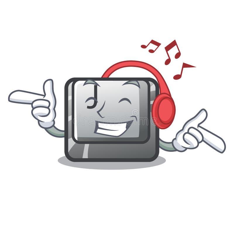 Słuchający muzyczny guzik J na komputerowym charakterze royalty ilustracja