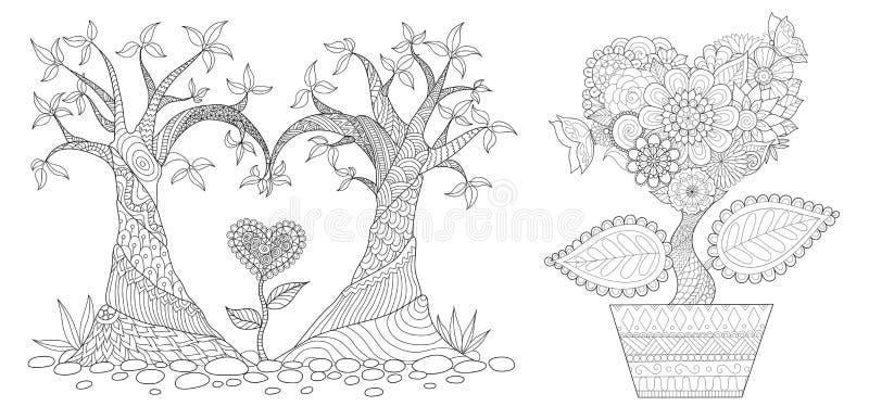 Słuchający shap drzewo royalty ilustracja