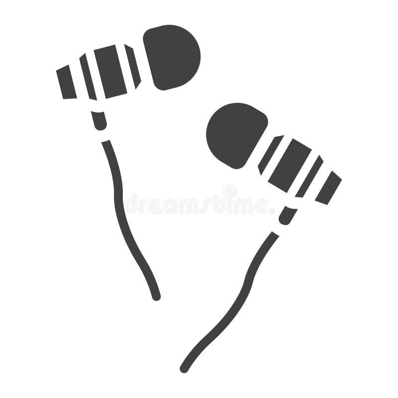 Słuchawka glifu ikona, muzyka i instrument, royalty ilustracja