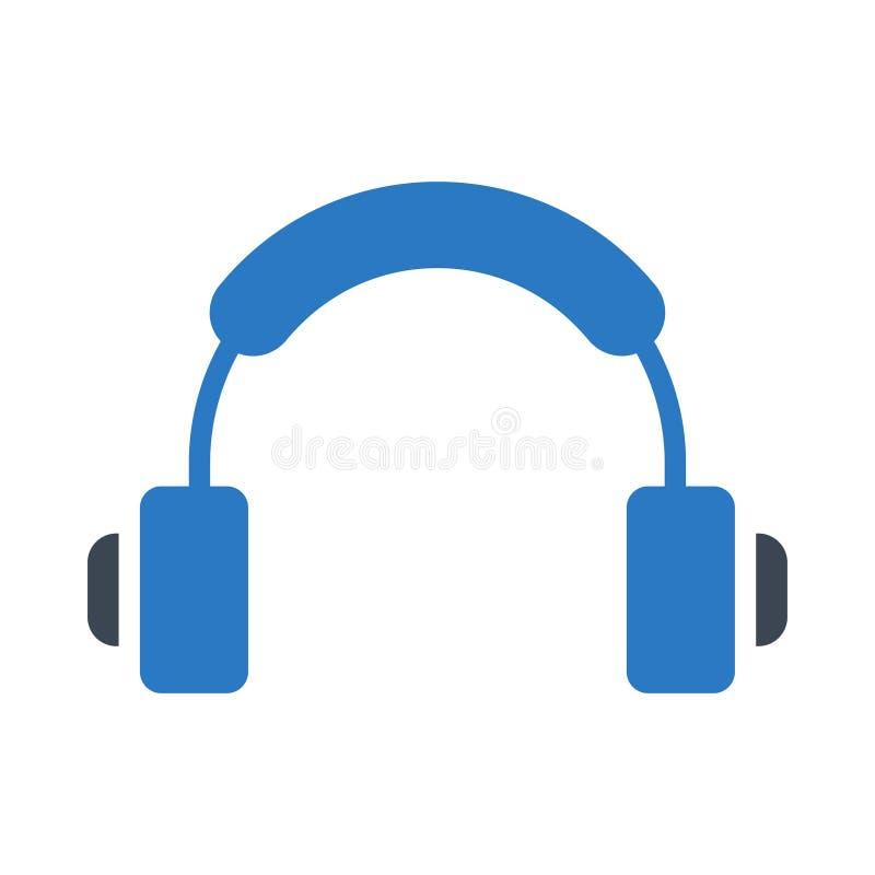 Słuchawki glifu koloru ikona ilustracji