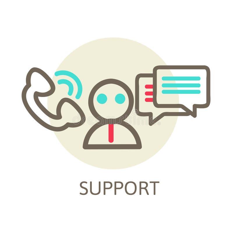 Słuchawki kontakt żyje pomocy tła błękitny ikony osoby poparcia teksta biel wektor royalty ilustracja