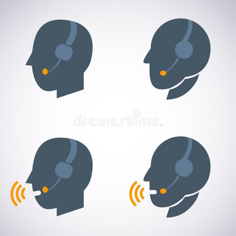 Słuchawki kontakt. Żyje pomoc. Wspiera ikonę. ilustracja wektor