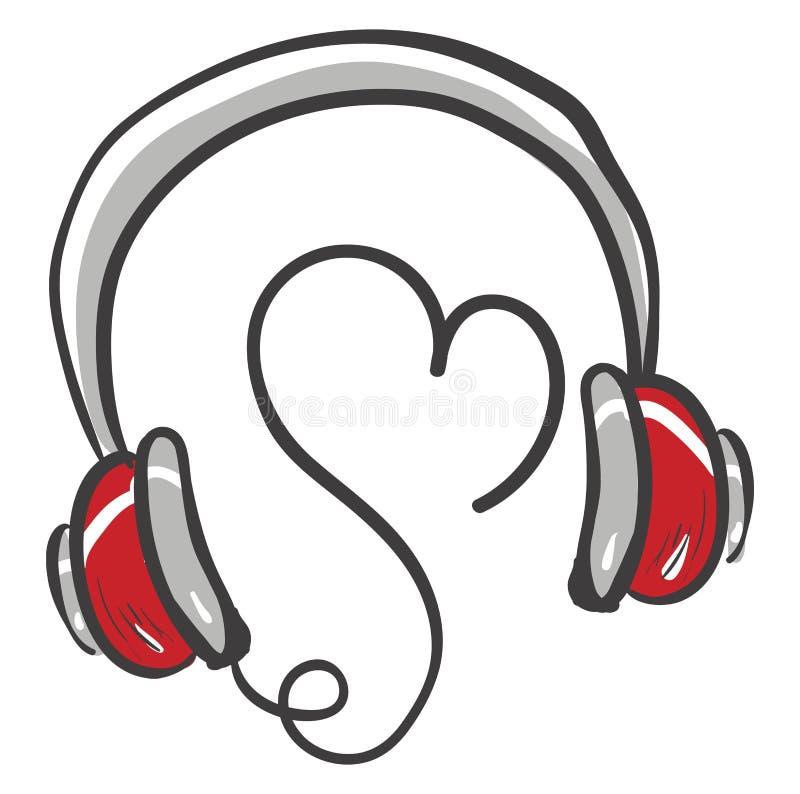 Słuchawki miłosne lub kolorowe ilustracje ilustracji