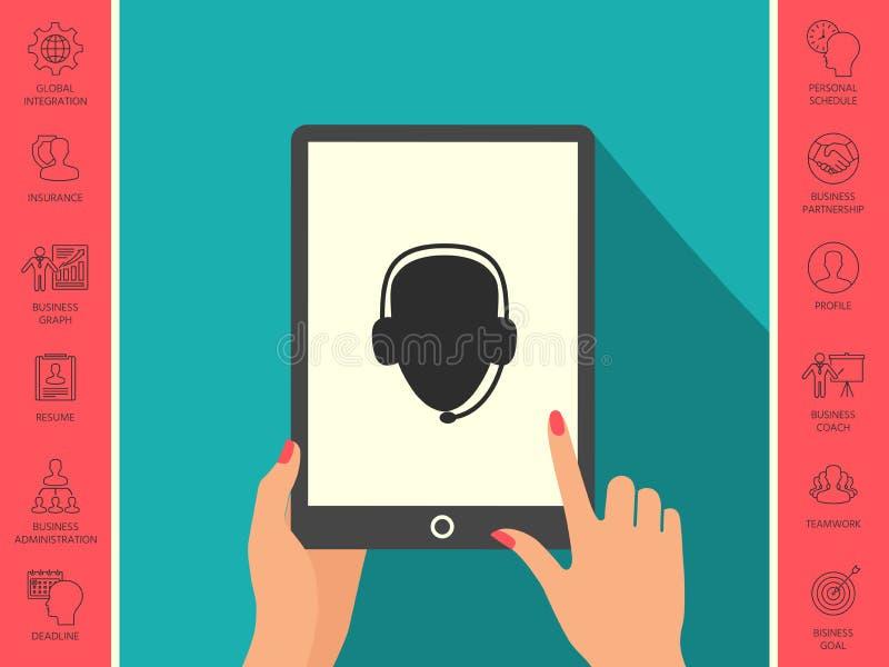 słuchawki operatora Centrum telefoniczne ikona ilustracja wektor