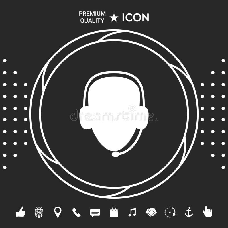 słuchawki operatora Centrum telefoniczne ikona Graficzni elementy dla twój designt ilustracja wektor