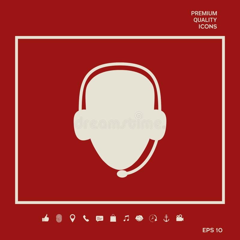 słuchawki operatora Centrum telefoniczne ikona Graficzni elementy dla twój projekta ilustracja wektor