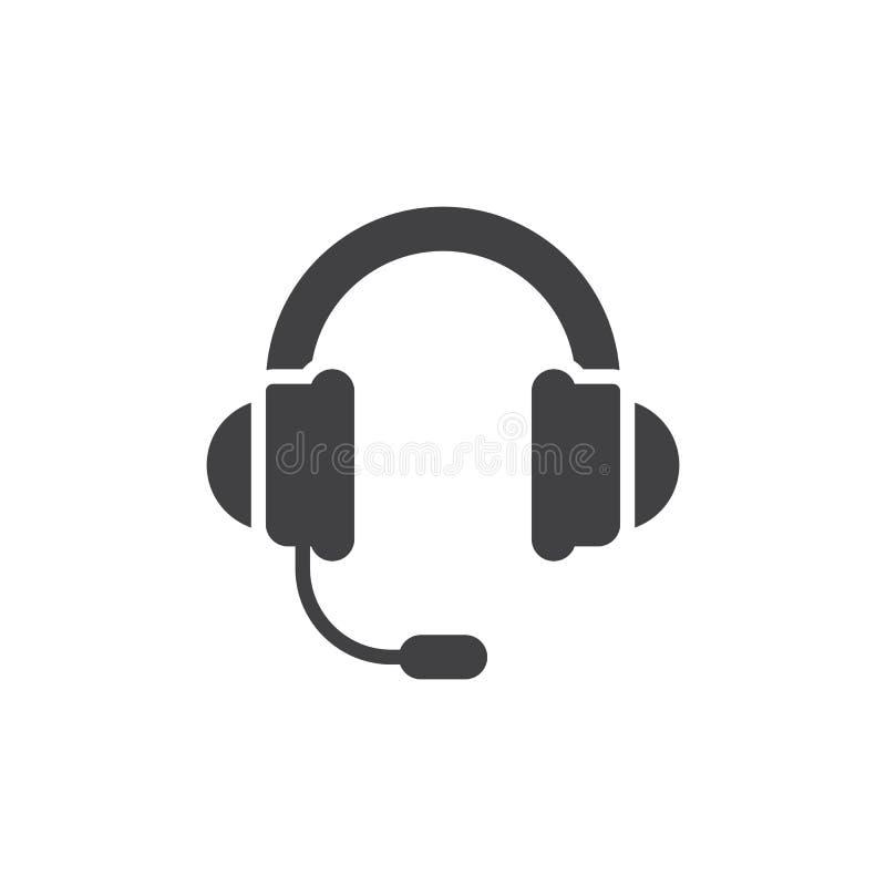 Słuchawki, poparcie ikony wektor, wypełniający mieszkanie znak, stały piktogram odizolowywający na bielu ilustracji