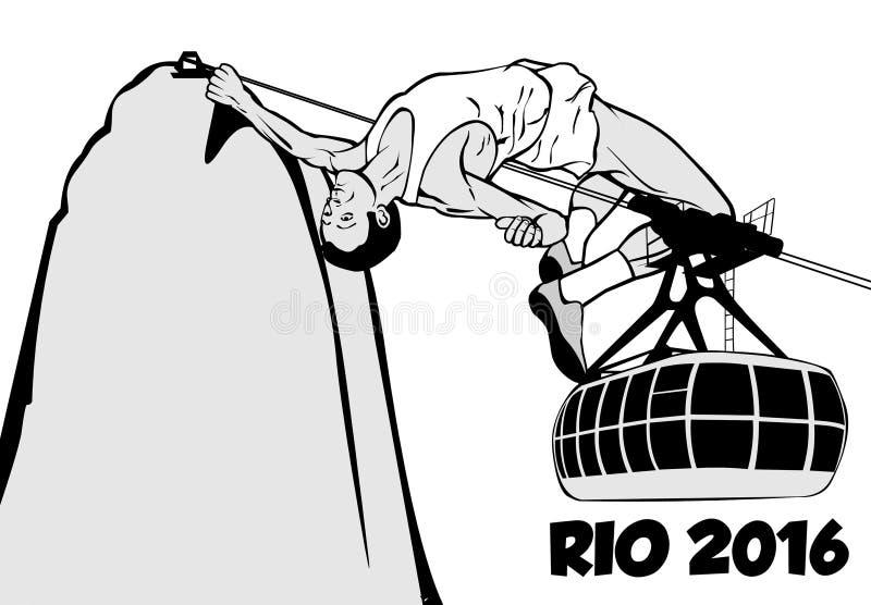 Słup krypty atleta Rio De Janeiro 2016 - olimpiady - royalty ilustracja