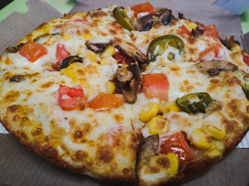 Słuzyć pizza ładująca z veggies obraz stock