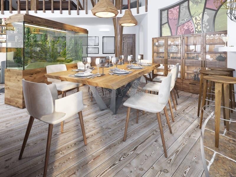 Słuzyć stół dla osiem w jadalni w loft z wysokością obraz stock