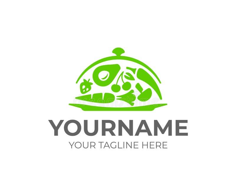 Słuzyć usługi logo projekt Stalowy karmowy cloche z warzywo wektorowym projektem royalty ilustracja