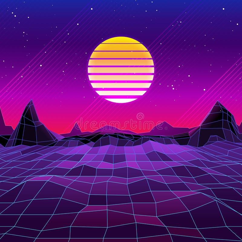 80s与太阳和山的减速火箭的科学幻想小说背景 皇族释放例证