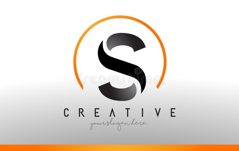 S信件与黑橙色颜色的商标设计 凉快的现代象T 皇族释放例证