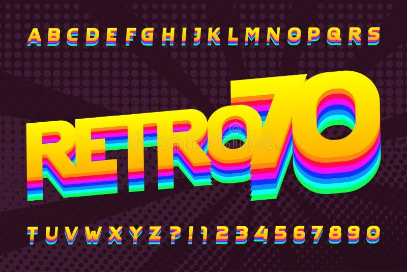 70s减速火箭的字体 大写五颜六色的信件和数字 背景半音例证徽标空间文本向量 皇族释放例证