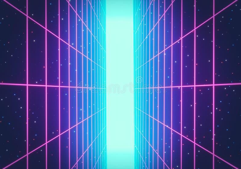 80s减速火箭的未来主义科学幻想小说背景 发光的垂直的霓虹栅格 r 3d?? 库存例证