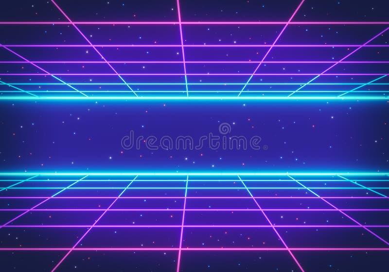 80s减速火箭的未来主义科学幻想小说背景 发光的霓虹栅格 r 3d?? 向量例证
