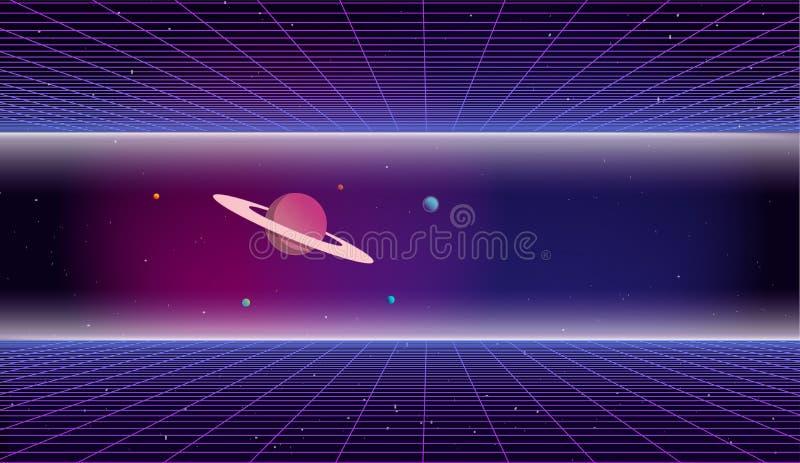 80s减速火箭的科学幻想小说背景 库存例证