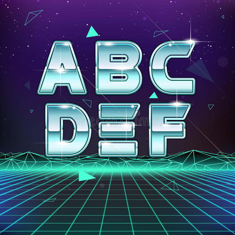 80s减速火箭的科学幻想小说字体从A到F 向量例证