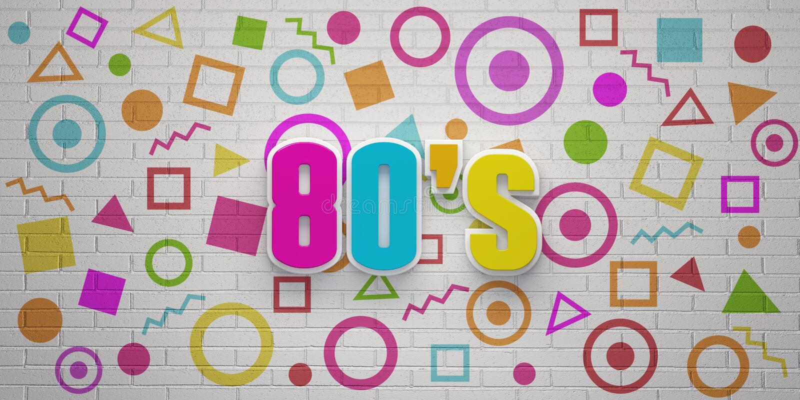 80s在象砖墙横幅的党 E 库存例证