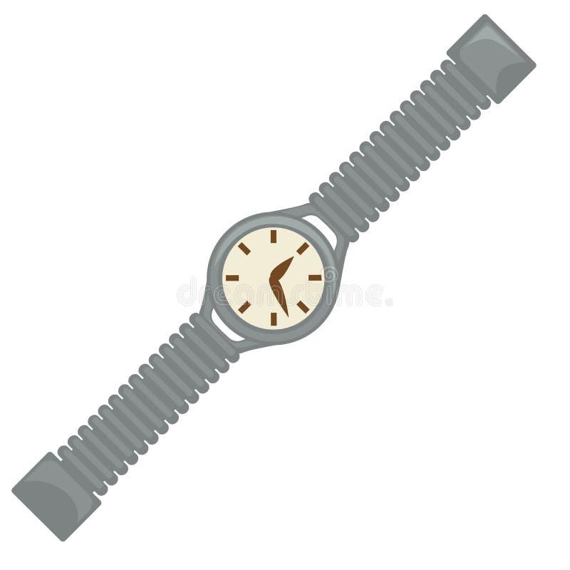 40s样式手表或腕子时钟、拨号盘和传送带,减速火箭的设计 皇族释放例证