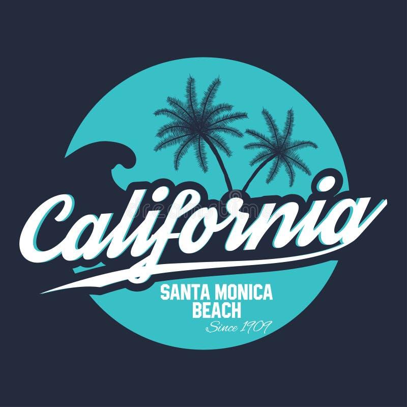 80s样式海浪体育印刷术 T恤杉图表 加利福尼亚发球区域图表 向量例证