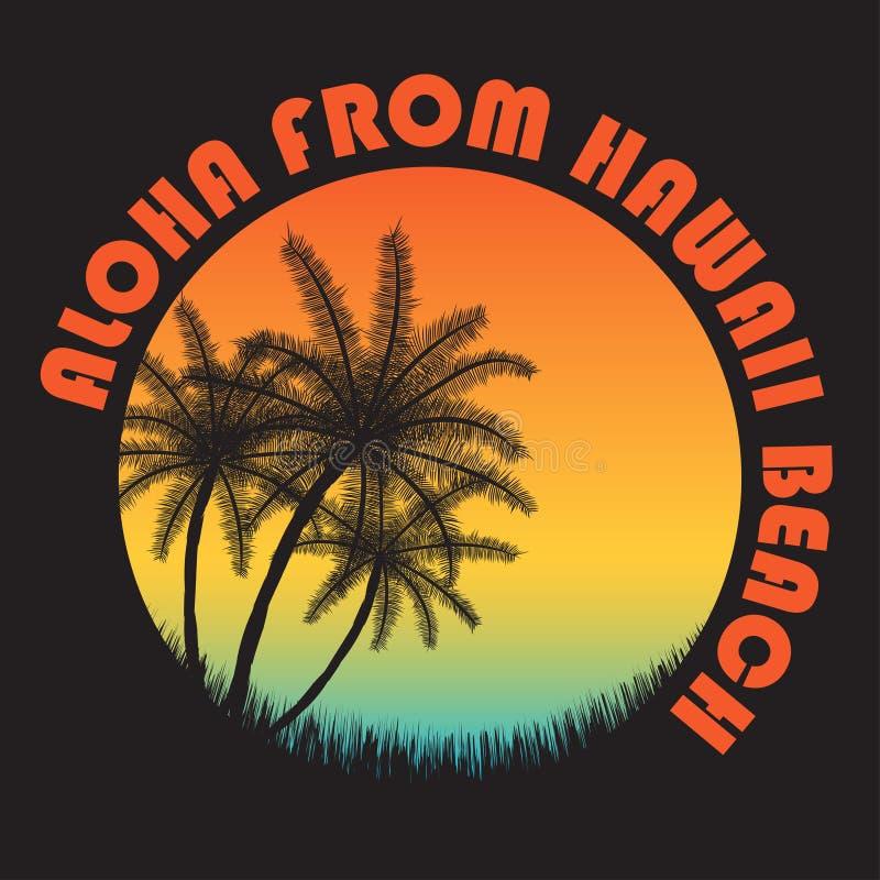 80s样式葡萄酒夏威夷印刷术 与热带天堂场面和回归线棕榈的减速火箭的T恤杉图表 皇族释放例证