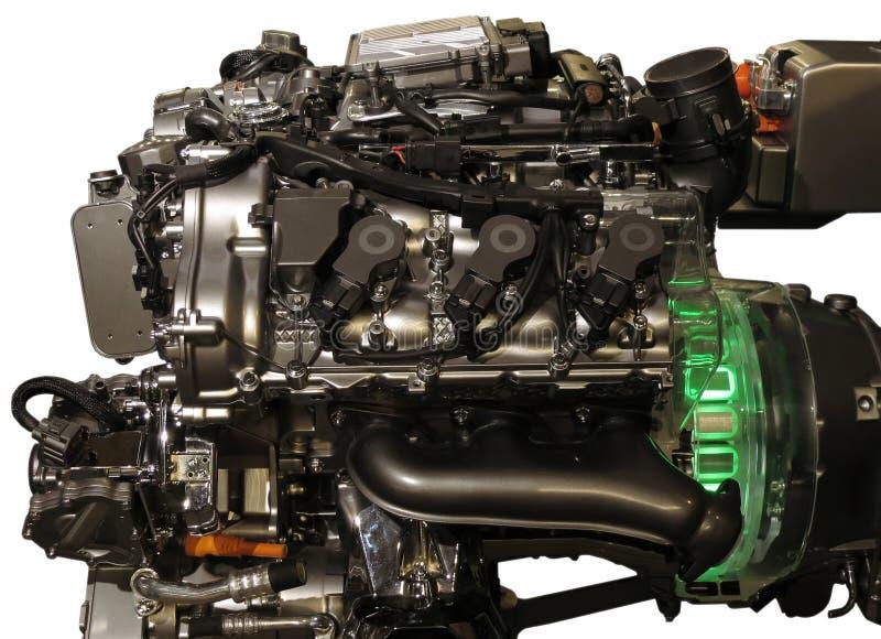 从s班的默西迪丝的混合动力车辆引擎 库存照片