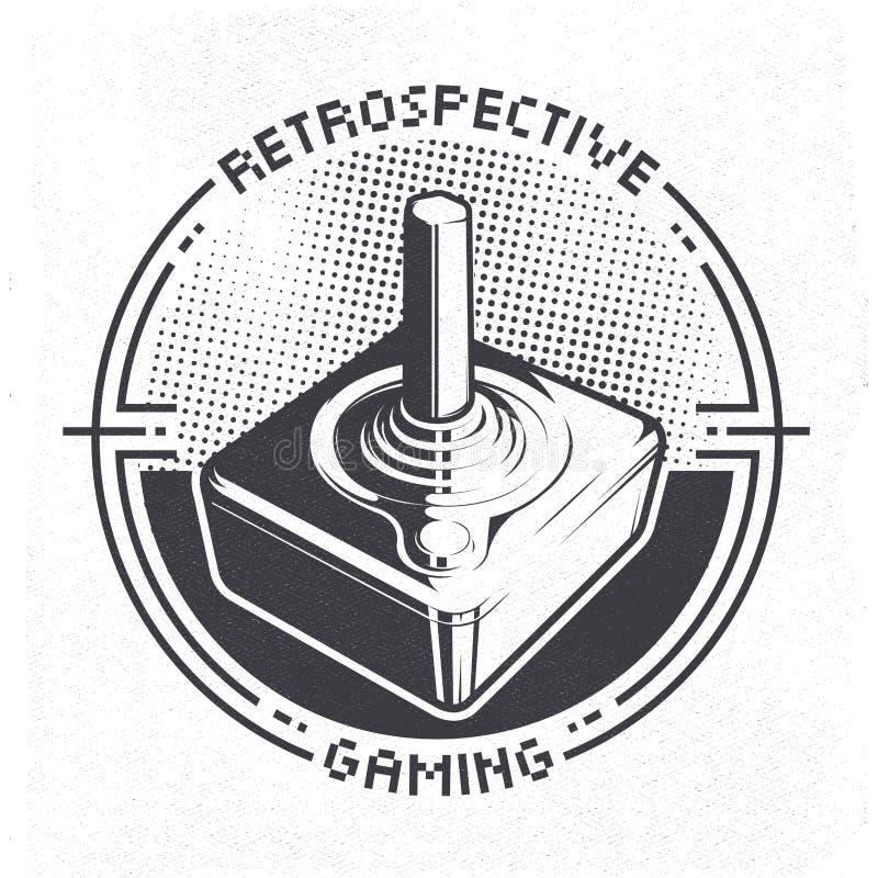 从70 ` s的减速火箭的电子游戏控制杆可以使用象徽章、标签、象征、贴纸、横幅或者海报 线艺术印刷品新闻样式 库存例证