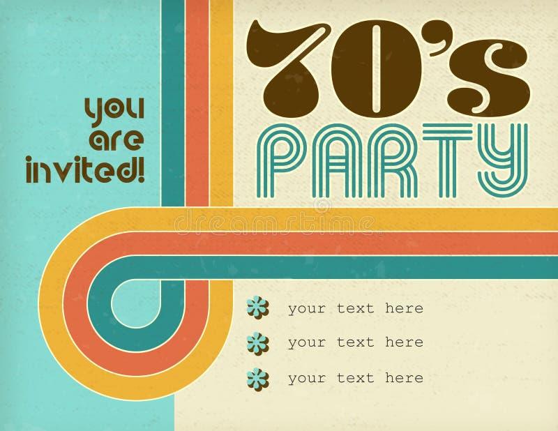 70s迪斯科聚会减速火箭的邀请艺术卡片 免版税图库摄影
