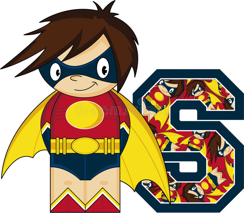 S är för Superhero royaltyfri illustrationer