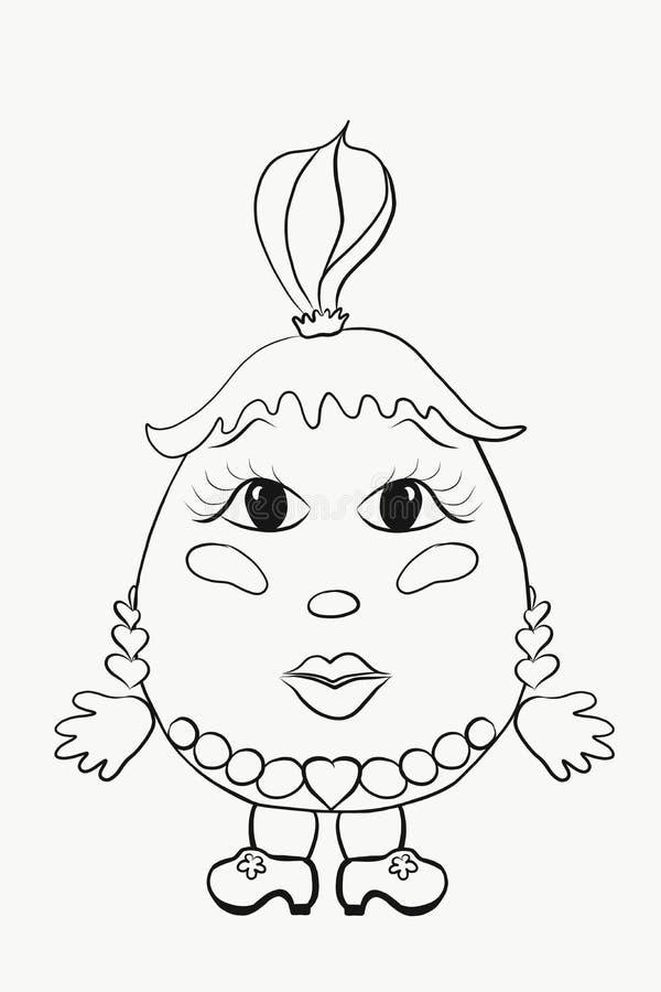 ` S детей крася смешную девушку яичка иллюстрация штока