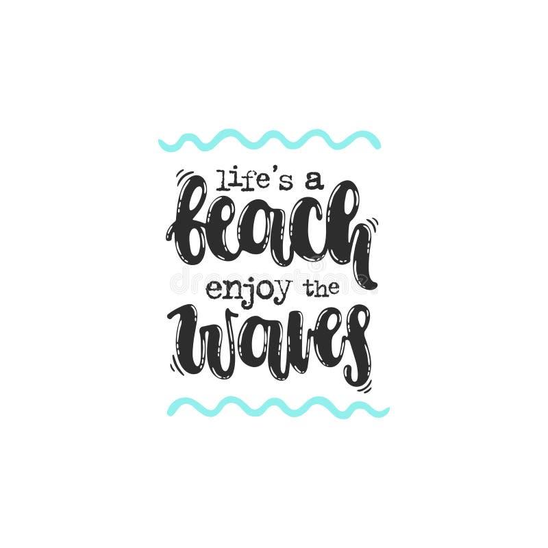 ` S жизни пляж наслаждается волнами иллюстрация штока