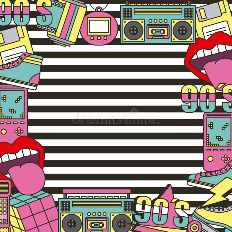 90's латают предпосылку нашивок украшения рамки плаката моды иллюстрация вектора